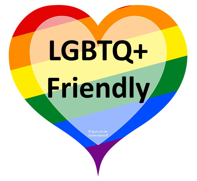 A heart shape with rainbow coloured striped bands and the words LGBTQ+ Friendly written inside.